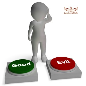 Good Evil Buttons Shows Morals